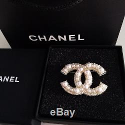 Chanel Pearl Brooch 18K Gold Large CC Pin XL