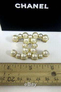 Chanel Pearl Large CC Logo Gold Tone Pin Brooch