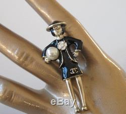 Chanel Permabrass Black CoCo Brooch Pearl Gripoix Box Charming Christmas gift