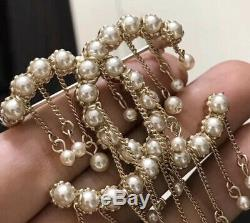 Chanel Pin Brooch CC Logo Pearls And Chains Drop