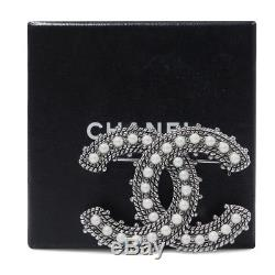 Chanel Pin Brooch Faux Pearl Silver Tone CC 05A Authentic Ladies Accossories