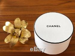 Chanel Rare Collectible Gold Leather Camellia Brooch Pin In Round Box Offert Par