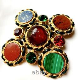 Chanel Rare Iconic Couture Gripoix Glass Gemstone Huge Vintage Brooch Pin 1995