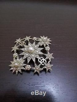 Chanel Salzburg collection brooch pin CC logo, pearls, rhinestones and stars