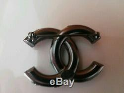 Chanel Silver Black Tone Brooch Pin New Authentic