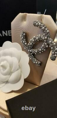 Chanel Silver Crystal Pearl CC Classic Large Brooch Pin