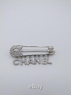Chanel Silver Crystal Pin Style With Dangle Chanel Letter Pin Brooch