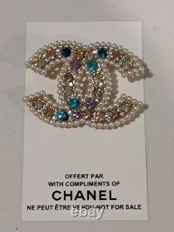 Chanel VIP gift Brooch multicolor with card and pouch and product sample