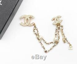 Chanel Vintage Gold Plated Double CC Link Pearl Pin Brooch