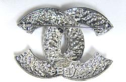Chanel Vintage Silver Tone Large Classic CC Logo Crystal PIN Brooch