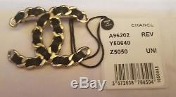 Chanel Women Accessories Blk Leather/gold Chain CC Pin Brooch