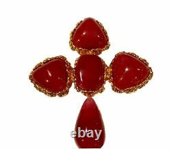 Chanel vintage 1989 collection 28 Large Red Cross gripoix pin brooch