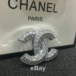 Classic Baguette Crystal Large CC Logo Silver Tone Brooch Pin