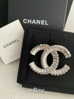 Classic Chanel Large Baguette CC Logo Crystal Brooch Pin