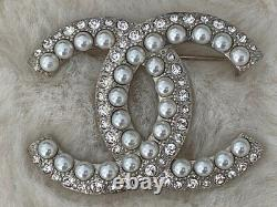 Classic Chanel Large Baguette CC Logo Crystal Pearl Brooch Pin