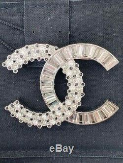Classic Chanel Ss18 Baguette CC Logo Crystal Brooch Pin