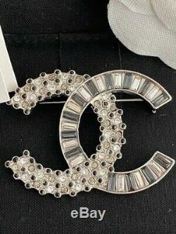 Classic Chanel Two Tone Baguette CC Logo Large Sparkly Crystal Brooch Pin