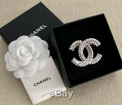 Classic Chanel Very Sparkly Large Baguette CC Logo Crystal Brooch Pin