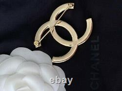 Classic Chanel Very Sparkly Large CC Logo Crystal Brooch Pin