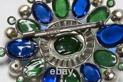 Coco CHANEL Paris 1950s Maison Gripoix Blue Green Poured Glass Pearl Brooch