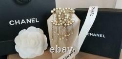 Coco Chanel Faux Pearl and Drip Dangle Faux Pearl Brooch Pin