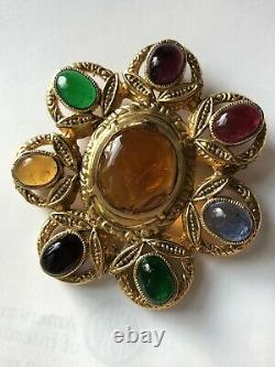 Couture Chanel Vintage 1996 Pin Brooch Gripoix Glass Huge Pendant For Necklace