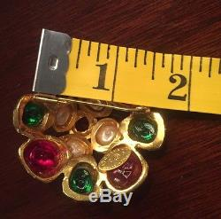 Gold-tone CHANEL Gripoix brooch multicolor glass cabochons and pin back closure