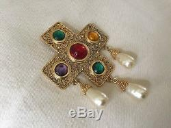 Gorgeous Vintage CHANEL Byzantine Pearl Gripoix LARGE Brooch Pendant Pin