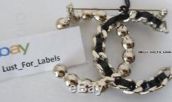 Iconic 2017 CHANEL 1/2 Pearl 1/2 Black Leather in Gold Chain Braid CC Pin Brooch