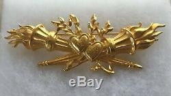 Karl Lagerfeld (chanel Designer) Large Brooch Flaming Hearts Crossed Torches Pin