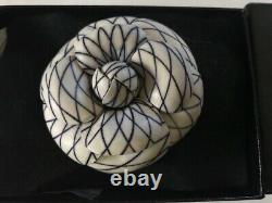 Karl Lagerfeld for Chanel Camellia Camellias Brooch Beige with Navy pinstripe