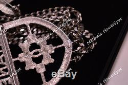 Limited Chanel Shield Badge Crest Runway CC Logo Silver Crystal Large Brooch New