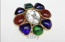 Lge Vintage 1995 Chanel Season 26 Gripoix Cabochon Glass Lge Crystal Pin/brooch