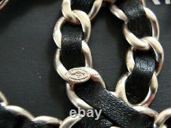 NEW 2021 Chanel CC Brooch Large Gold Pin Black Leather Chain-link withReceipt