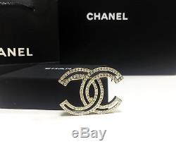 NEW CC Classic Chanel brooch fully Crystal pin 18k-gold tone metal original box