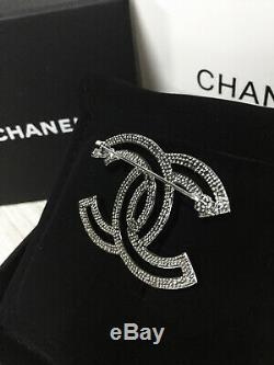 NEW CC Classic brooch fully Crystal pin 18k-white-gold tone metal WithBOX