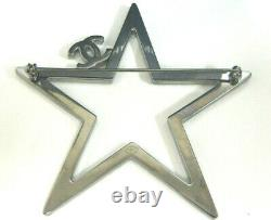 NEW Chanel Crystal Star CC Logo Brooch Pin Silver Tone with Box Pouch