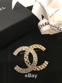 NIB Chanel X-Large Silver Classic CC Crystal Strass Baguette Brooch