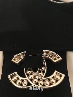 NIB Chanel XL Extra Large Silver Classic CC Pearl Crystal Strass Baguette Brooch