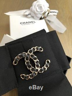 NIB Chanel XXL Extra Extra Large Classic CC Leather Gold Metal Brooch