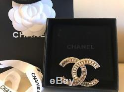 NWT 2017 Chanel Classic CC Gold Crystal Pin Brooch Sold Out