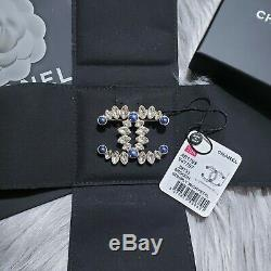 NWT 2019 Authentic CHANEL Classic CC Gold Blue Pearl Crystal Large Pin Brooch