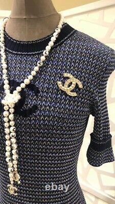 NWT 20S Chanel Classic CC Logo Crystal Gold White Pearl Brooch