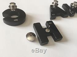 NWT Auth Chanel Black Mirror Large Logo Letter Pin Brooch Set of 6 RARE SOLD OUT