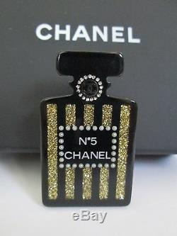 NWT Auth Chanel Number 5 Perfume Bottle Black Gold Lucite Pin Brooch with Box RARE