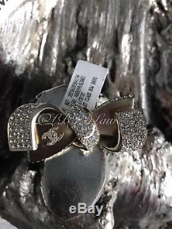 NWT CHANEL 1ST FIRST CLASS BOW BROOCH Gold CC Crystal AIRLINES 2016 16S SOLDOUT
