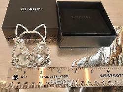 NWT CHANEL XL CAT BROOCH On Top Of Clouds Happy Smiley Emoji Crystal PIN SOLDOUT