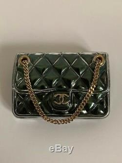 NWT Chanel Green Quilted Classic Flap CC Logo Purse Handbag Pin Brooch with Box