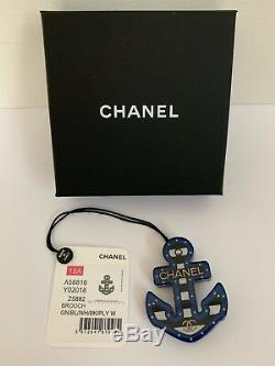 NWT Chanel Large Letter CC Logo Blue Black White Coco Anchor Pin Brooch with Box
