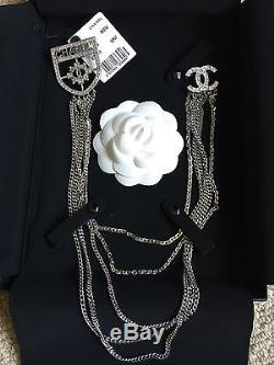 NWT Chanel Runway Medallion CC Logo Crystal Brooch Pin Necklace Sold Out